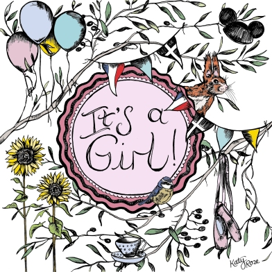 Its a Girl! Hand drawn illustrated baby announcement
