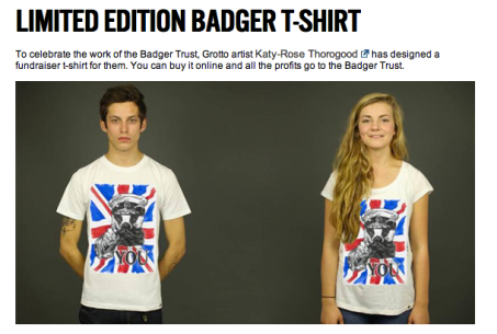 'Your Badgers Need You!' limited edition organic t shirts featuring my illustration, available to buy on the Rapanui website to raise money for the save the badger campaign.