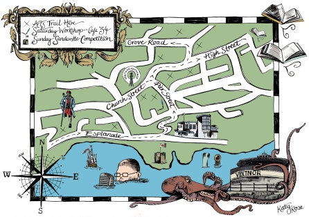 Hand-drawn map designed for Isle of Arts Festival to guide the observer to each venue on the Arts Trail.