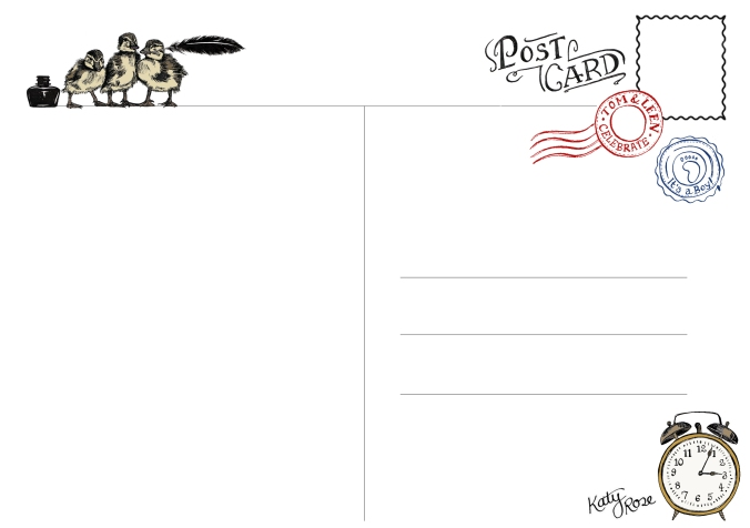 Hand drawn bespoke postcard. Designed as keepsake and a more traditional way of introducing him to the family.