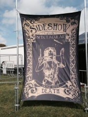 I was commissioned by Green Eye Productions to produce the branding and hand painted interior and exterior artwork for the fabulous Cabaret Noir at this years Isle of Wight Festival!
