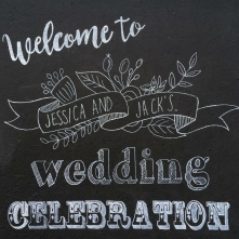 I loved creating these bespoke pieces for the ever so wonderful bride and groom - Jessica and Jack! The hand drawn, illustrated table numbers and table plan were inspired by their travels through Australia, and the giant hand written chalkboard welcomed their guests at the gate.